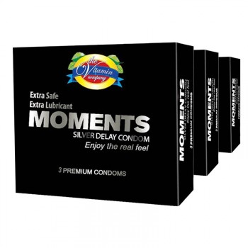 Moments Silver Delay Condoms 03 Pack