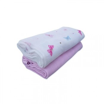 Home N Baby Muslin Cloth Butterfly Pink Pack of 2