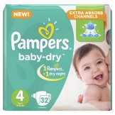 Pampers Baby-Dry Size 4 (9-18 KG Maxi) 32 Counts