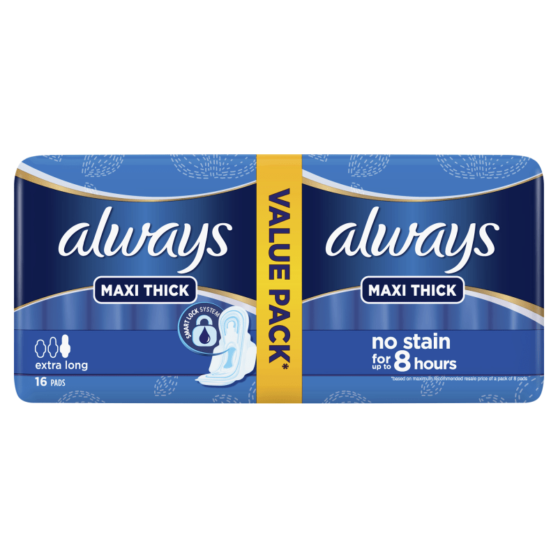 Always Maxi Thick Extra Long 16 Pads